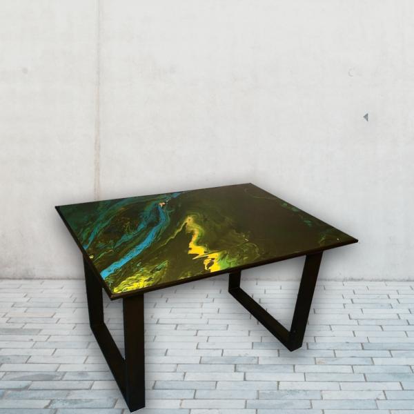 Esstisch Acrylgemälde Epoxidharz Abstrakt