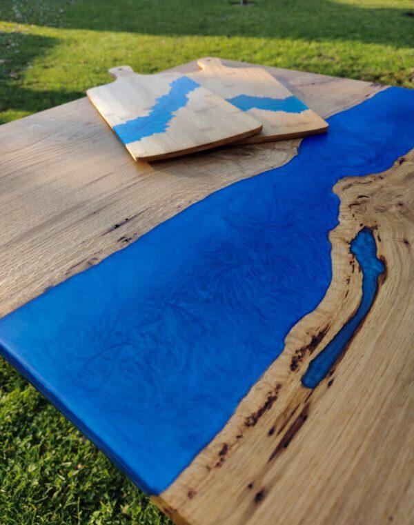 Couchtisch Servierbrett Eichenholz Epoxidharz Blau