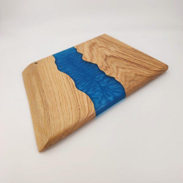 Servierbrett Eichenholz Epoxidharz Blau